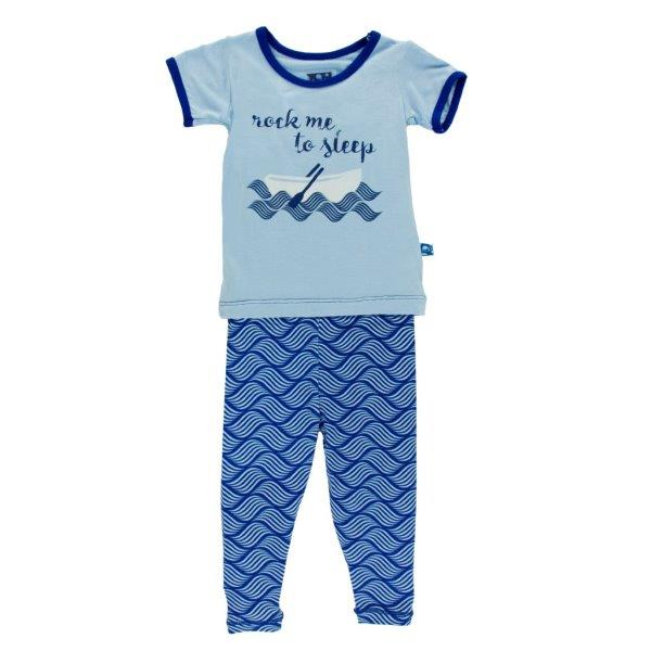 Bamboo Pajama Set in Water Lattice