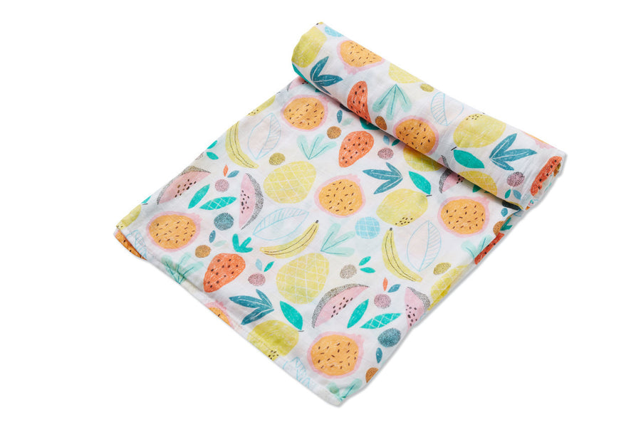 tropical fruit swaddle blanket - Pink and Brown Boutique