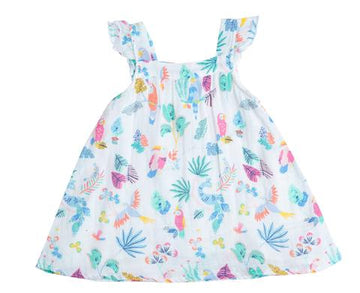 tropical bird muslin dress - Pink and Brown Boutique