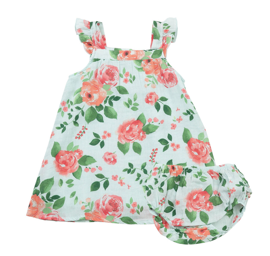 rose garden dress and diaper cover - Pink and Brown Boutique