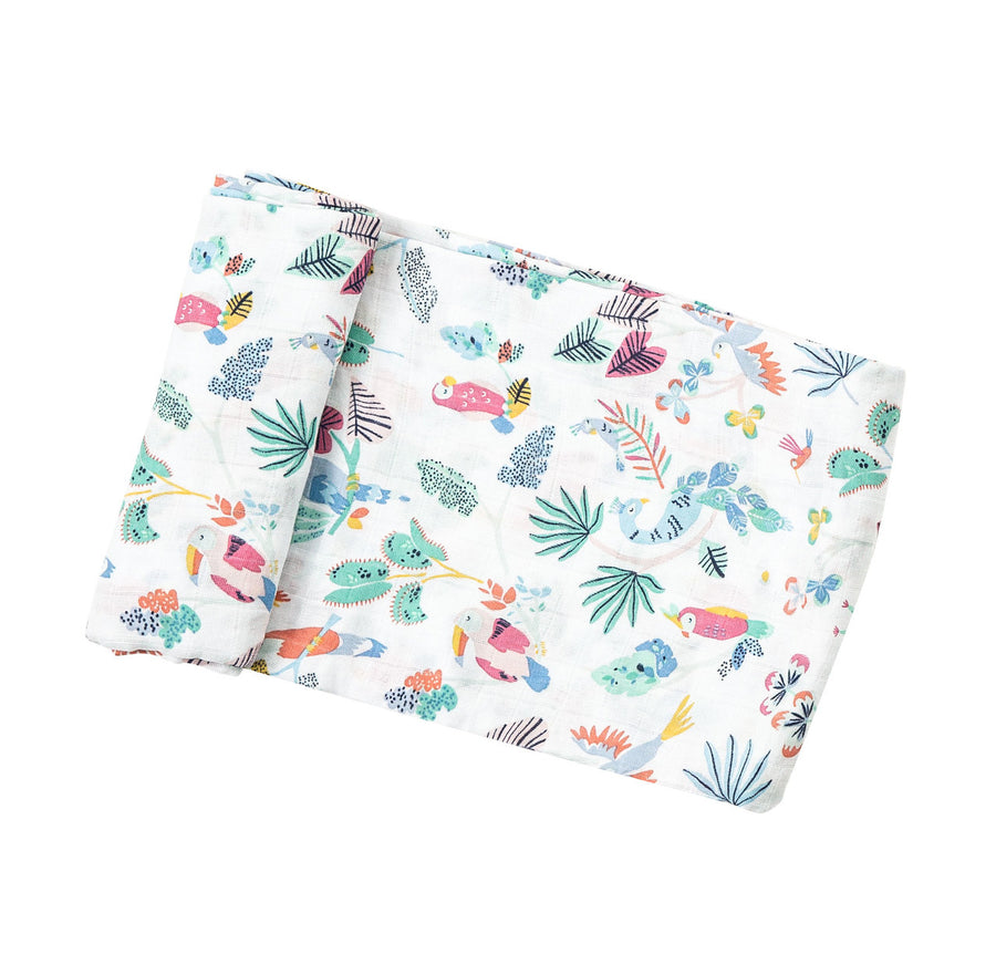 tropical birds swaddle blanket - Pink and Brown Boutique