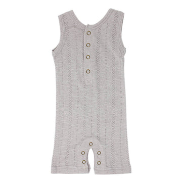 organic pointelle tank romper gray - Pink and Brown Boutique
