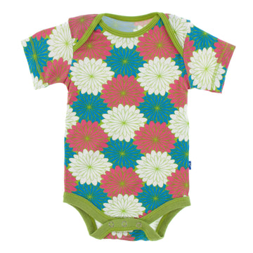 short sleeve one piece in tropical flowers