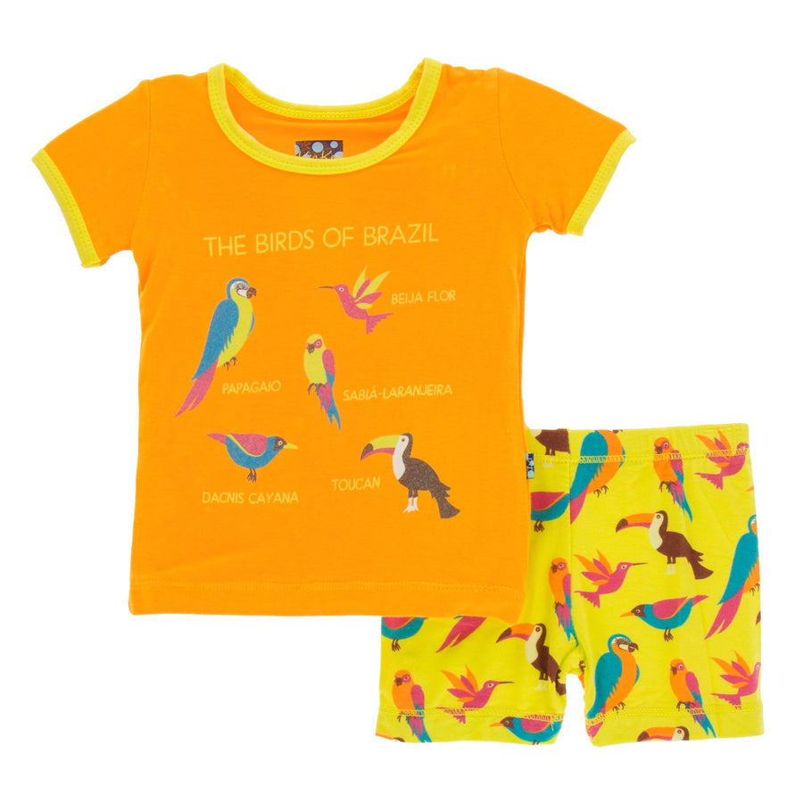 Bamboo Short Pajama Set in banana tropical birds