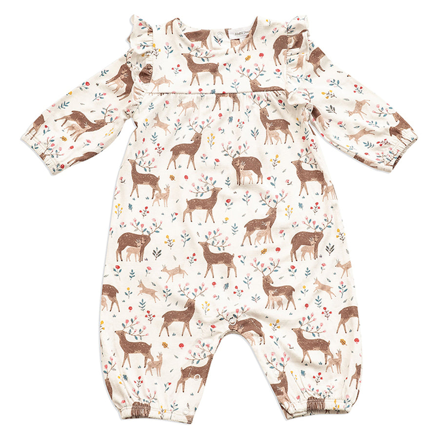 little deer ruffle long sleeve romper