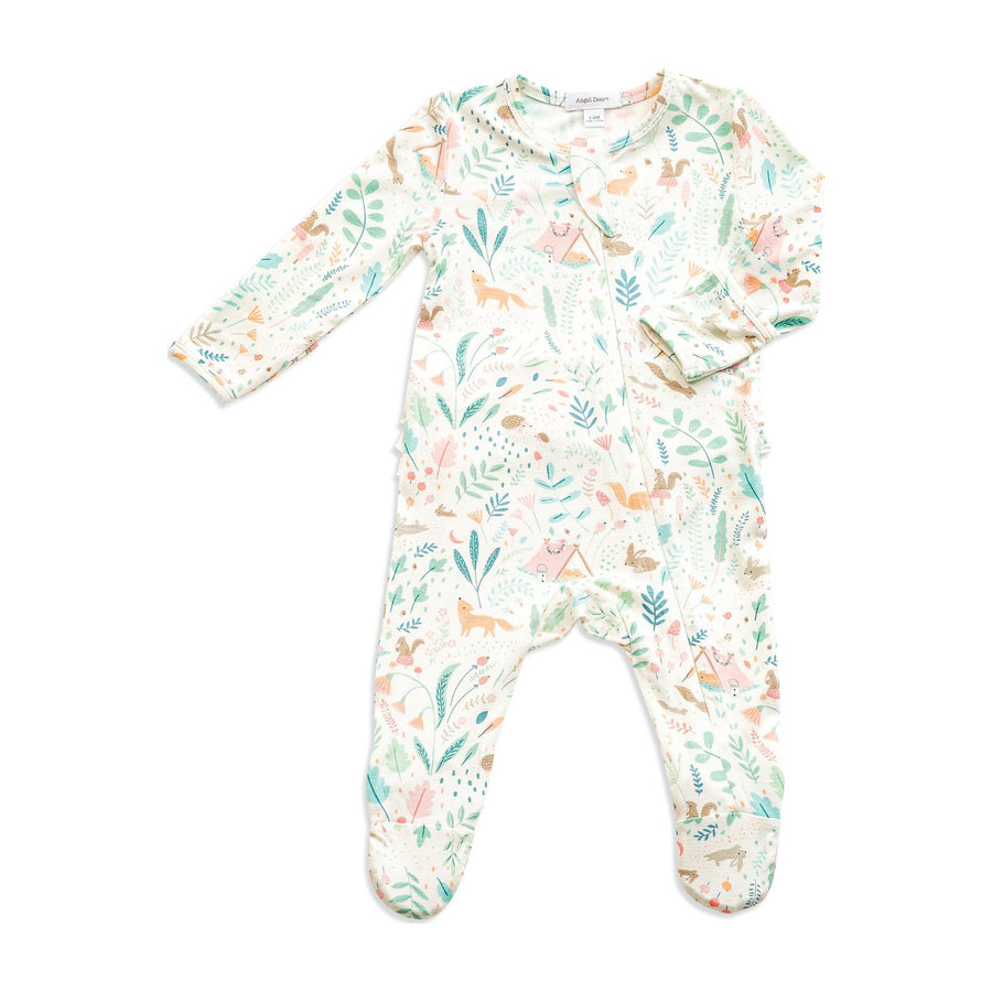 woodland ruffle zipper footie