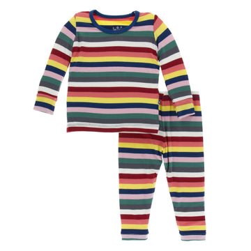 Bamboo Pajama Set in bright London Stripe - Pink and Brown Boutique