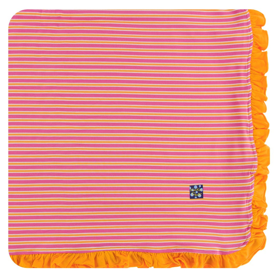 Bamboo Ruffle Toddler Blanket in tamarin stripe - Pink and Brown Boutique
