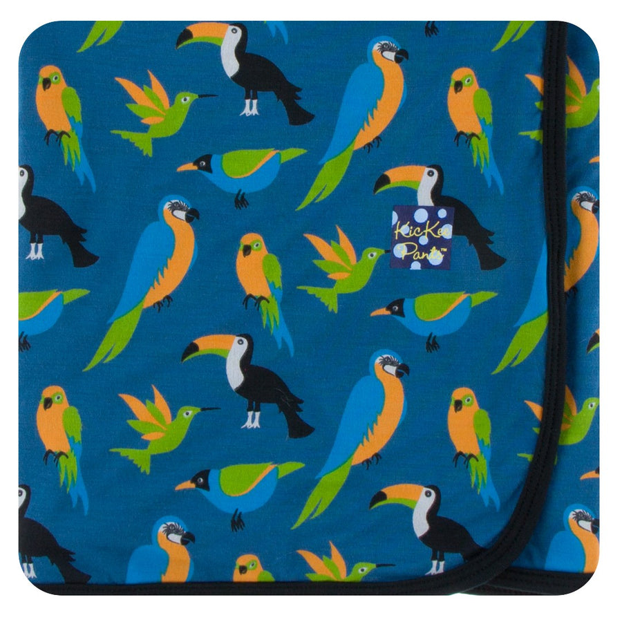 Bamboo Swaddling Blanket in twilight tropical bird