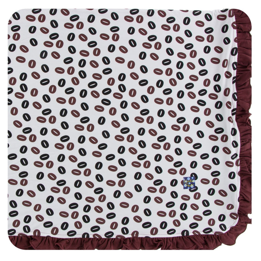 Bamboo Ruffle Toddler Blanket in coffee bean - Pink and Brown Boutique
