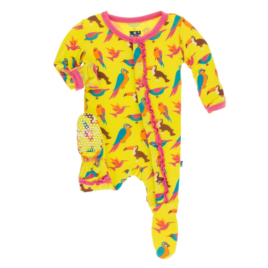 ruffle footies in banana tropical birds
