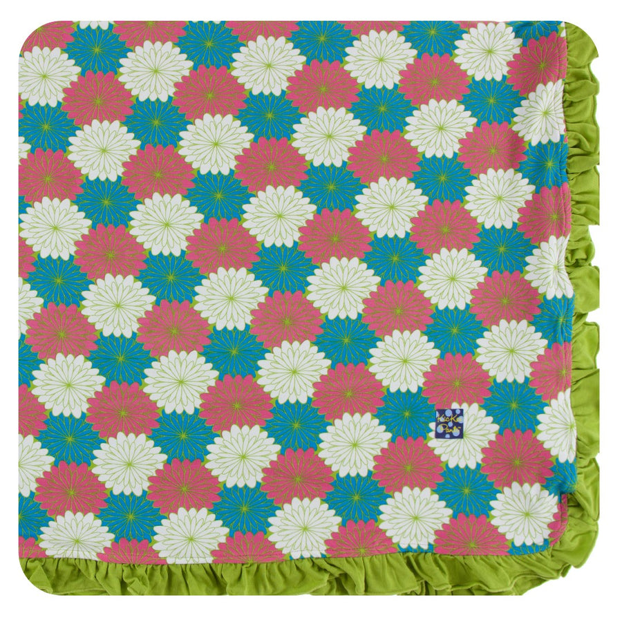 Bamboo Ruffle Toddler Blanket in tropical flowers - Pink and Brown Boutique