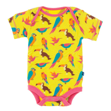 short sleeve one piece in banana tropical birds