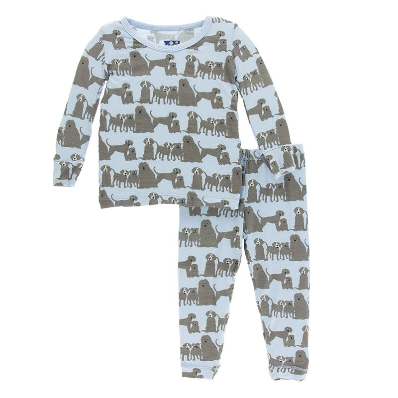 Bamboo Pajama set in London Dogs - Pink and Brown Boutique