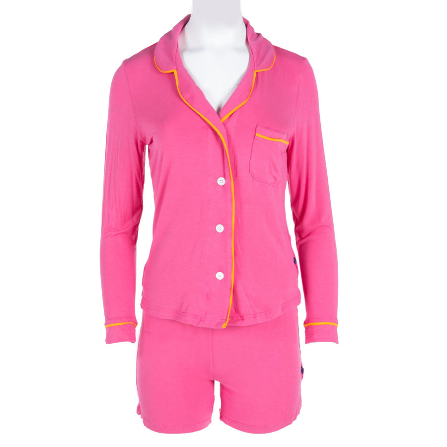 collared pajama set with with shorts in flamingo with tamarin - Pink and Brown Boutique