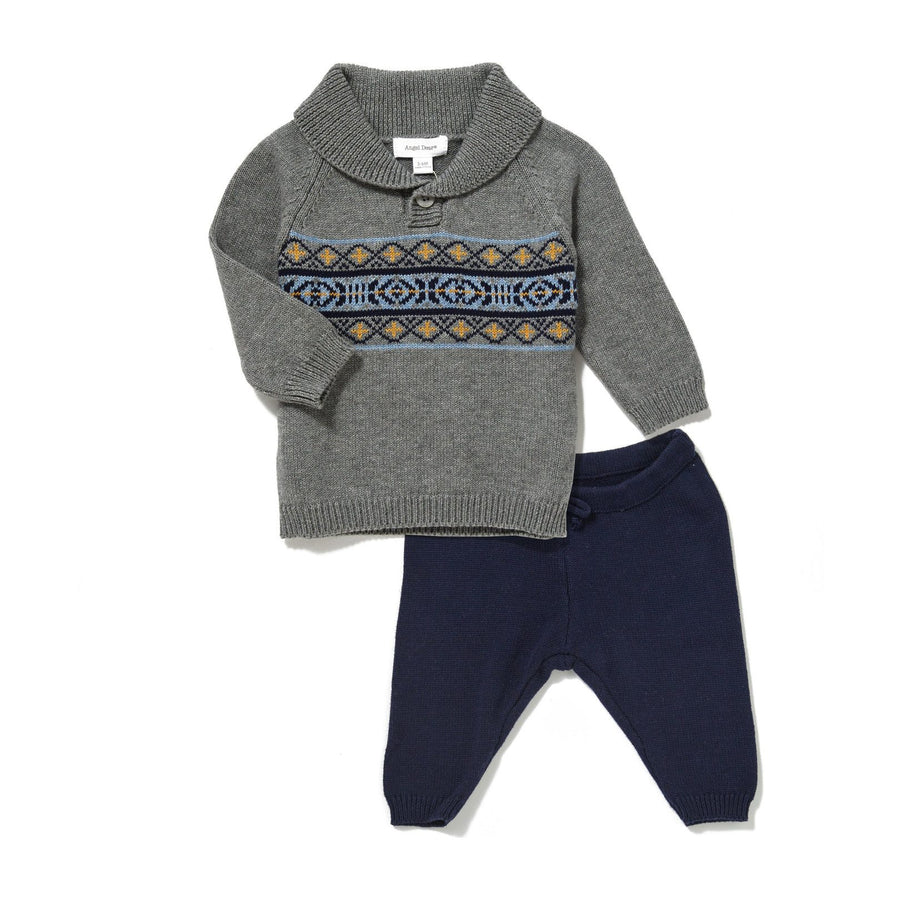 viking fair isle knit shawl collar sweater & pant set