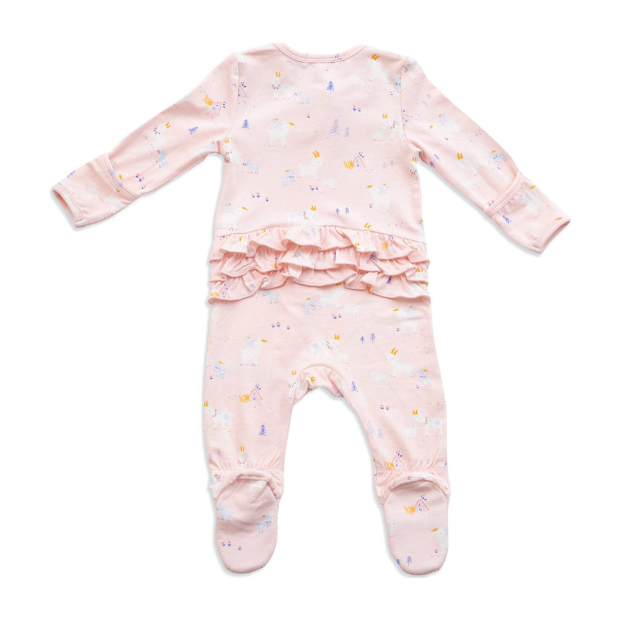 goat ruffle zipper footie - Pink and Brown Boutique