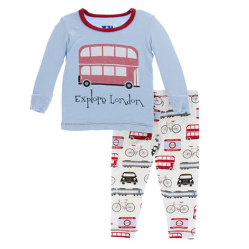 bamboo pajama set in london transport - Pink and Brown Boutique