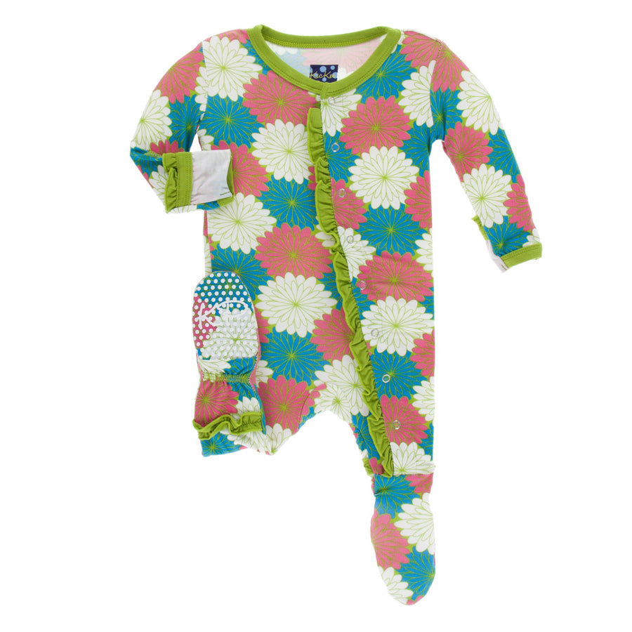 ruffle footies in tropical flowers - Pink and Brown Boutique