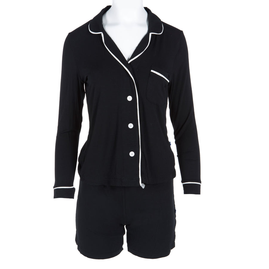 collared pajama set with with shorts in midnight with natural
