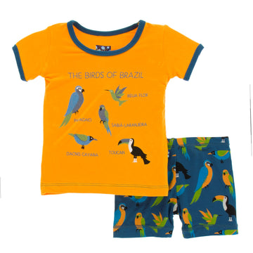Bamboo Short Pajama Set in tropical birds