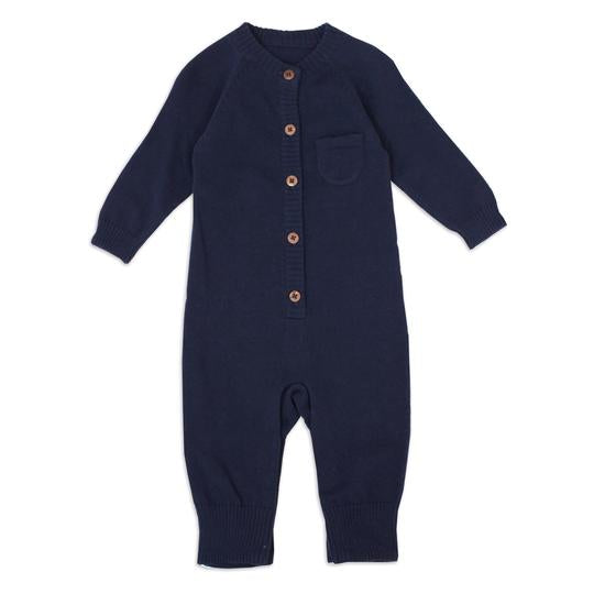 Navy Organic Romper - Pink and Brown Boutique