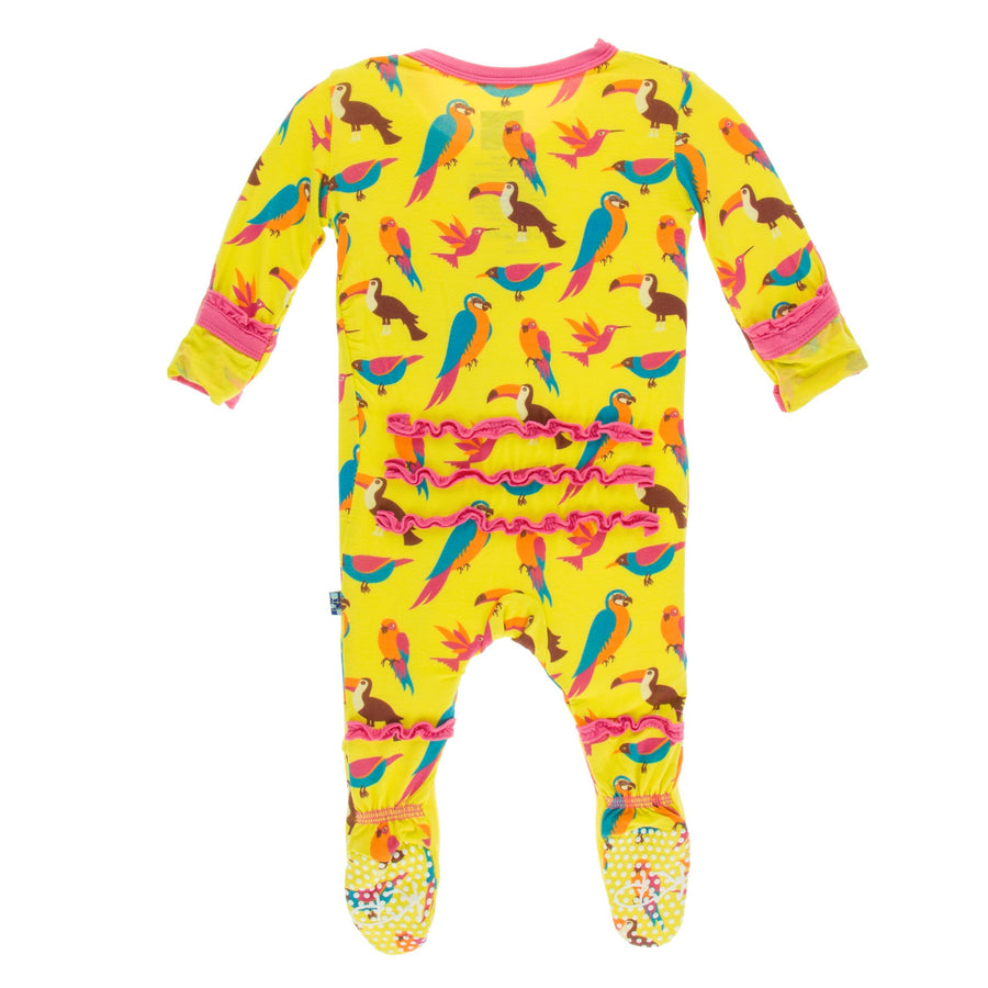ruffle footies in banana tropical birds - Pink and Brown Boutique