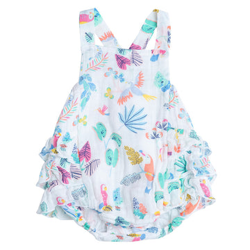 tropical bird ruffle sunsuit