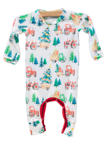 Holiday Tractor Romper - Pink and Brown Boutique