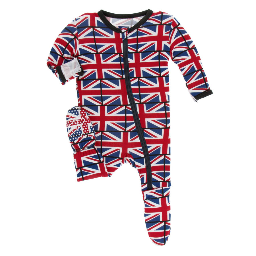 union jack zipper footie - Pink and Brown Boutique