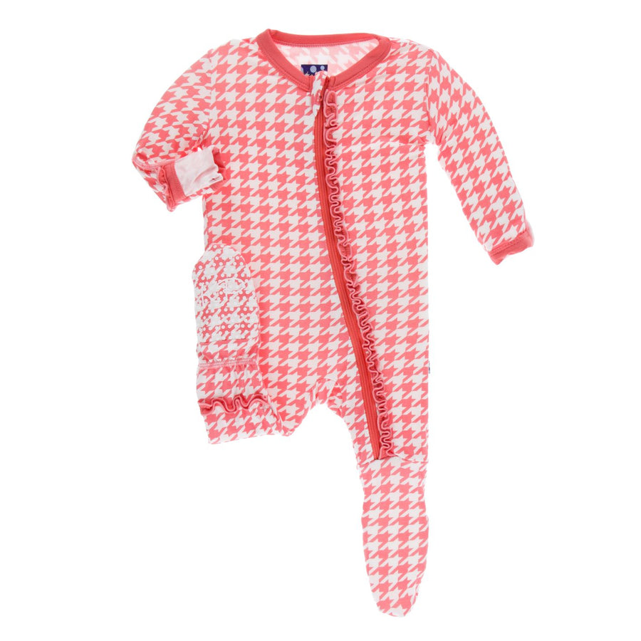 ruffle rose houndstooth zipper footie - Pink and Brown Boutique