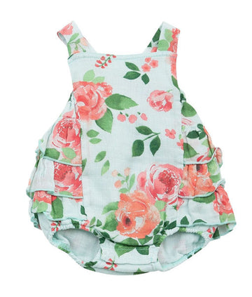 rose garden ruffle sunsuit - Pink and Brown Boutique