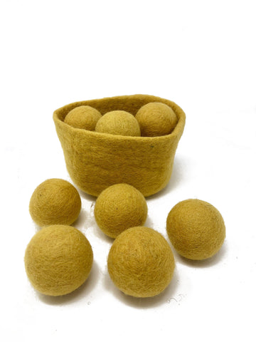 mustard handmade wool basket ball set - Pink and Brown Boutique