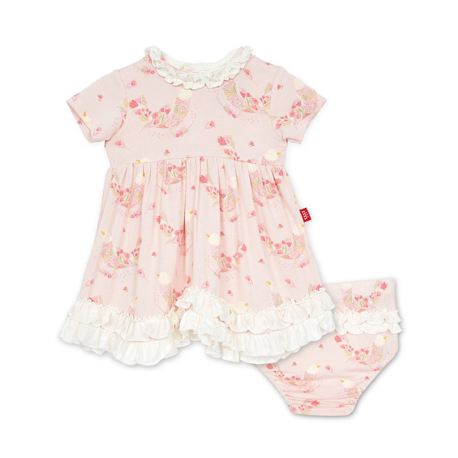 birds of paradise magnetic dress and diaper cover - Pink and Brown Boutique