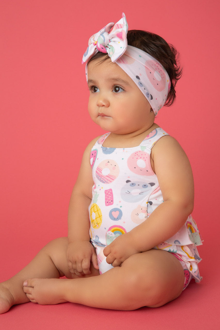 donut smiles print headband - Pink and Brown Boutique