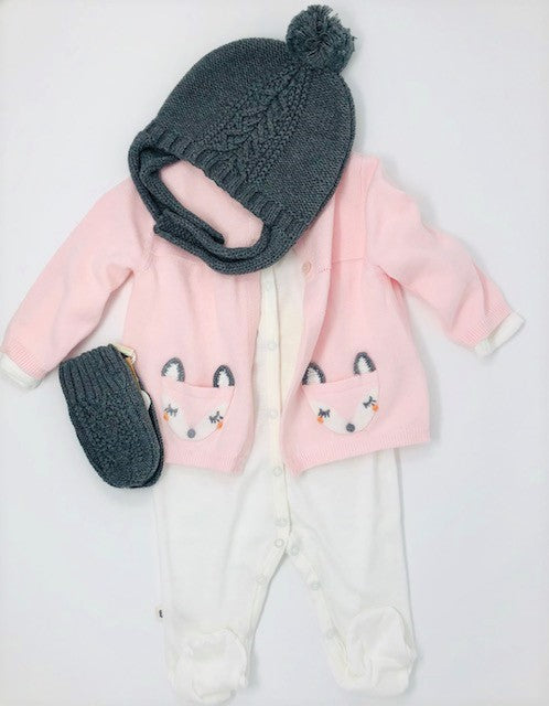 Fox sweater Baby Gift Set - Pink and Brown Boutique