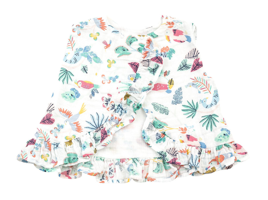 tropical bird top and bloomer with ruffle - Pink and Brown Boutique