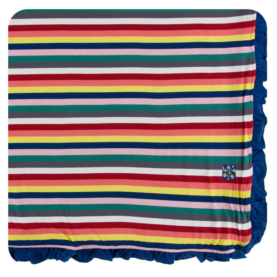 Bamboo Toddler Blanket in bright stripes - Pink and Brown Boutique