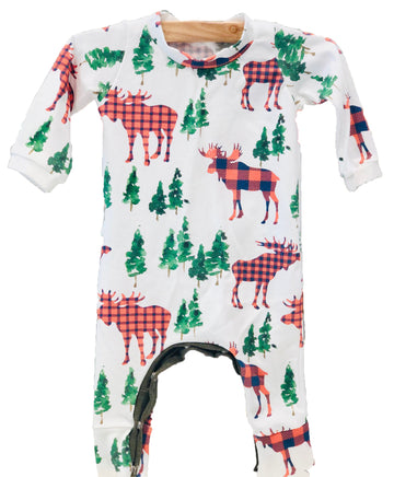 Plaid Moose Romper - Pink and Brown Boutique