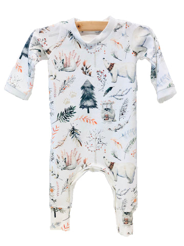 Water Color Forest Friends Romper - Pink and Brown Boutique