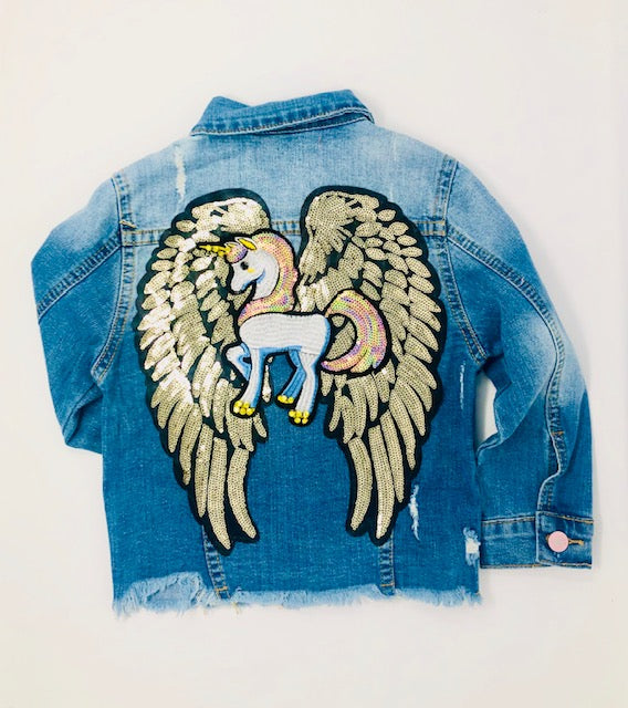 magical wing unicorn jean jacket - Pink and Brown Boutique