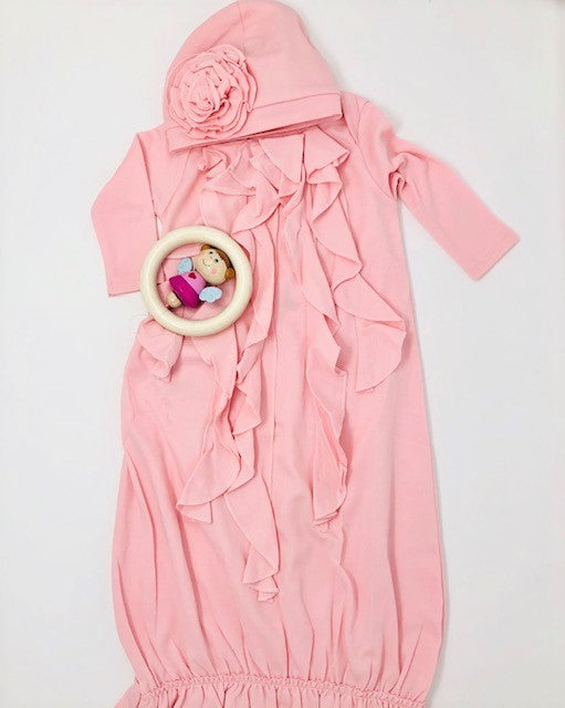 ruffle gown Baby Gift Set - Pink and Brown Boutique