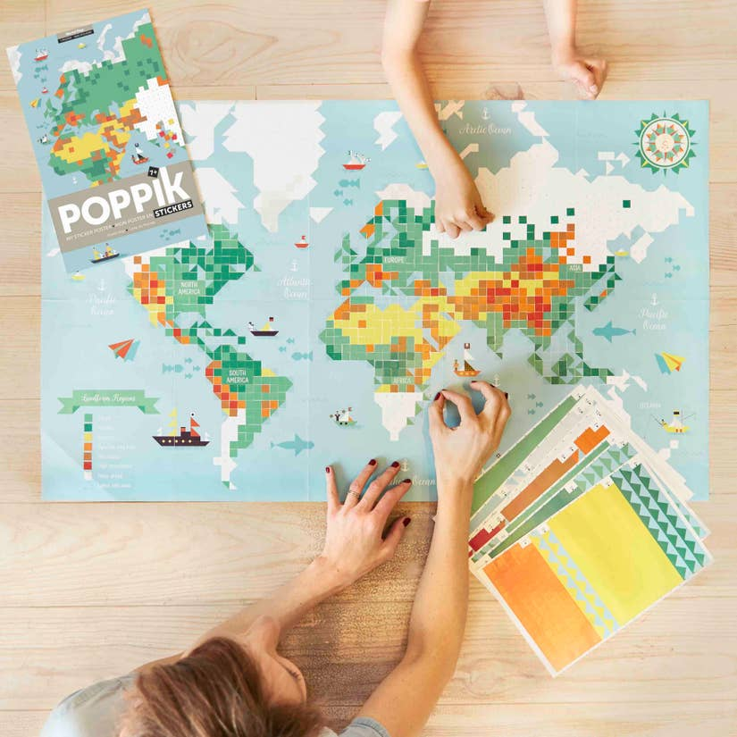 world map sticker puzzle - Pink and Brown Boutique
