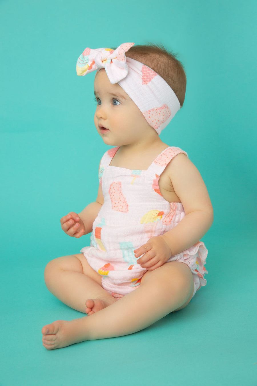 frozen treats ruffle sunsuit - Pink and Brown Boutique
