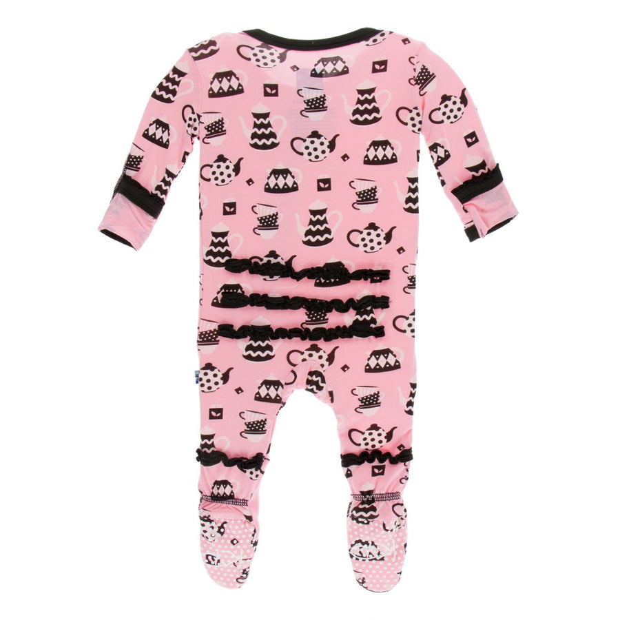 tea time zipper footie - Pink and Brown Boutique