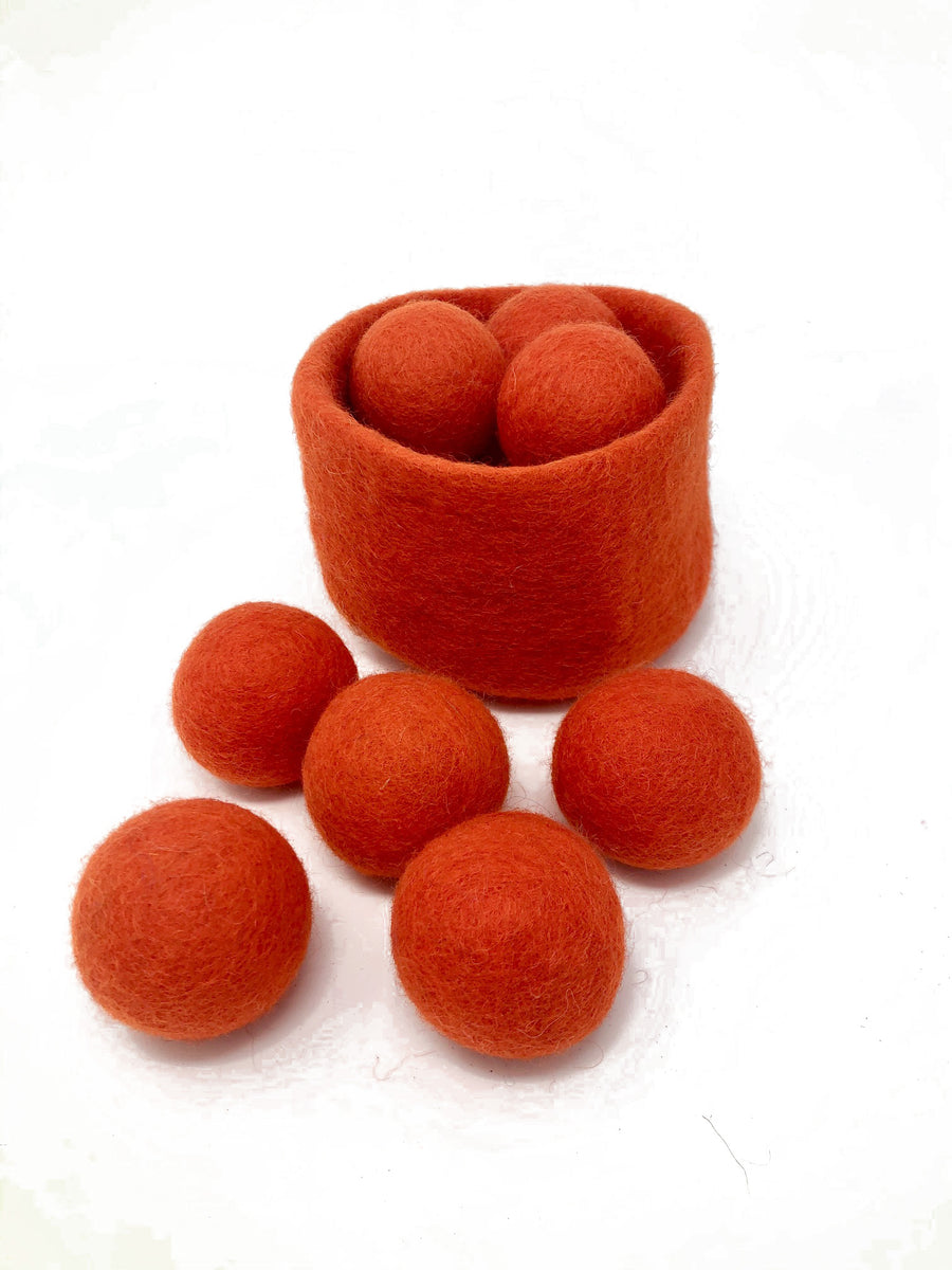 orange handmade wool basket ball set - Pink and Brown Boutique