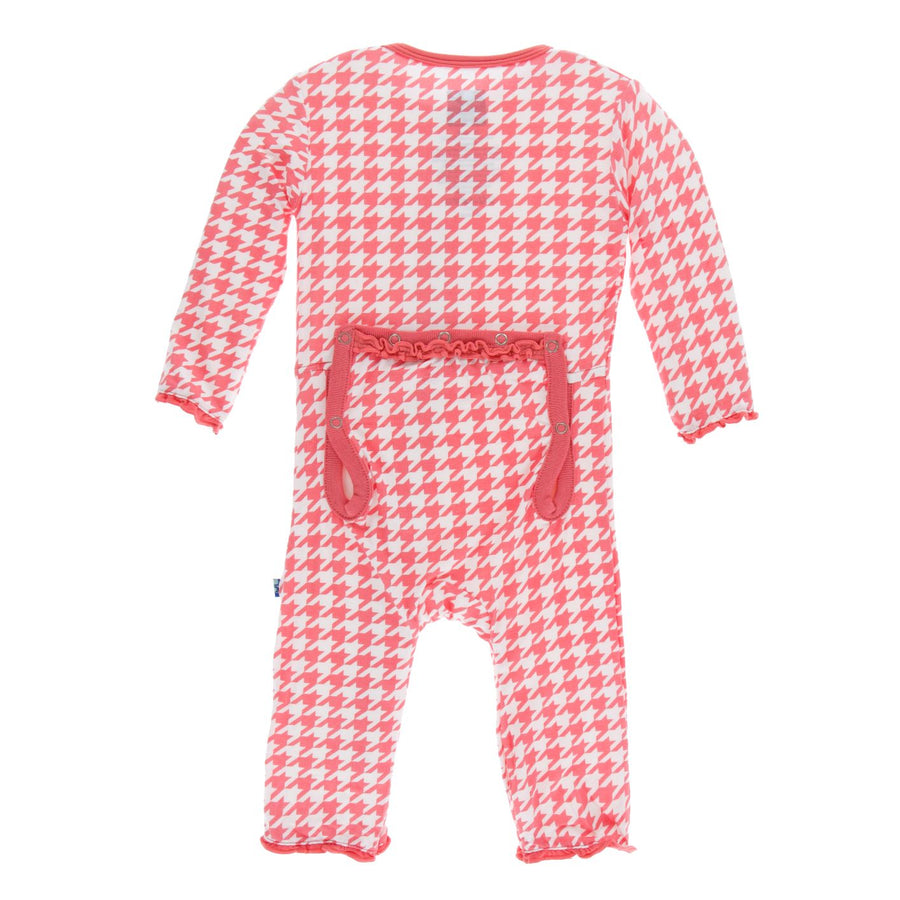 ruffle rose houndstooth zipper coverall - Pink and Brown Boutique