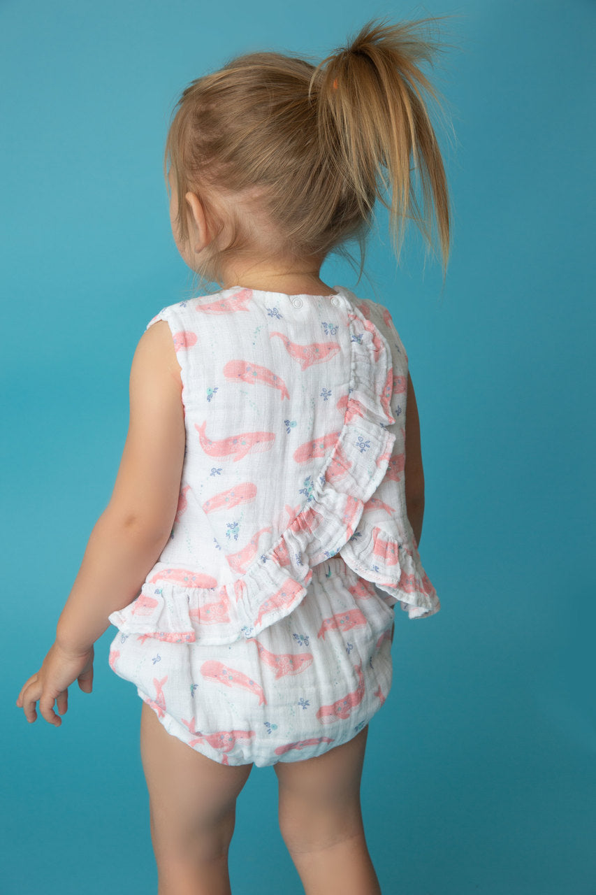 deep blue sea top and bloomer with ruffle - Pink and Brown Boutique