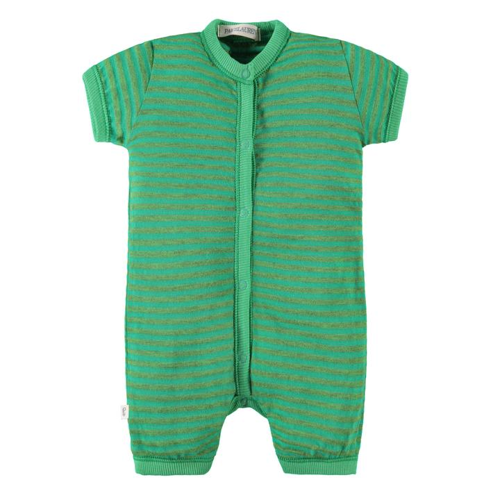 short sleeve short pant romper in green palm