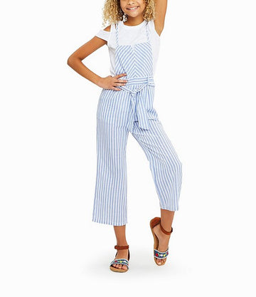 stripe overall jumpsuit